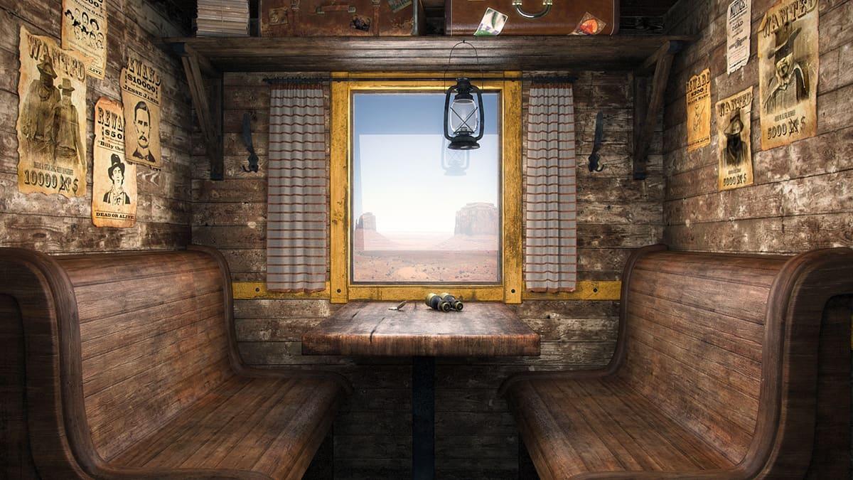 Модели и сцены, созданные для фильма «Густаво приключение». Трехмерная модель каюты поезда.