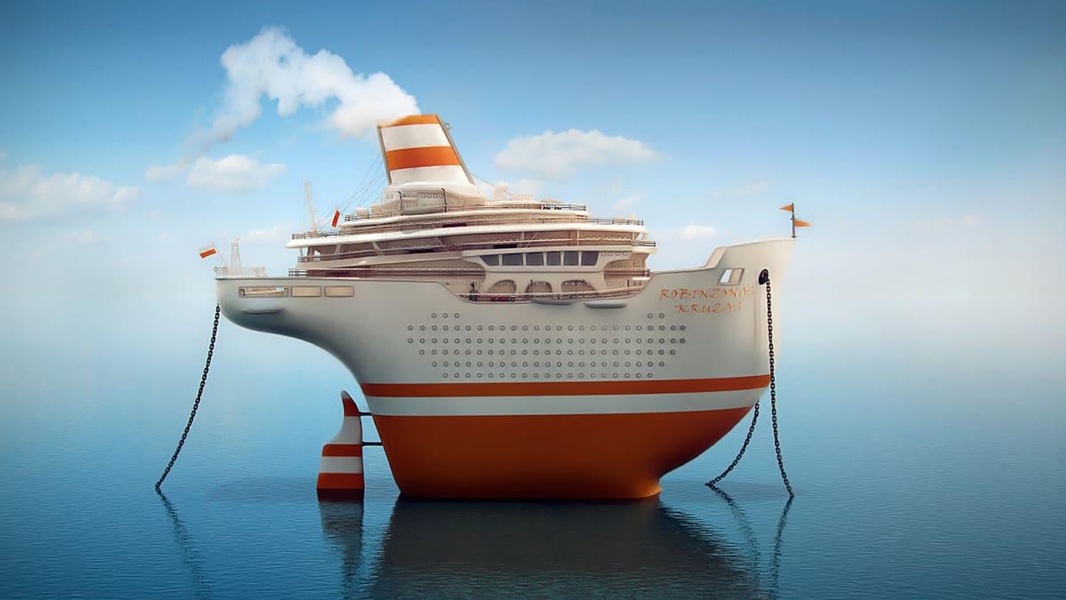 Модели и сцены, созданные для фильма «Густаво приключение». Модель круизного корабля 3D