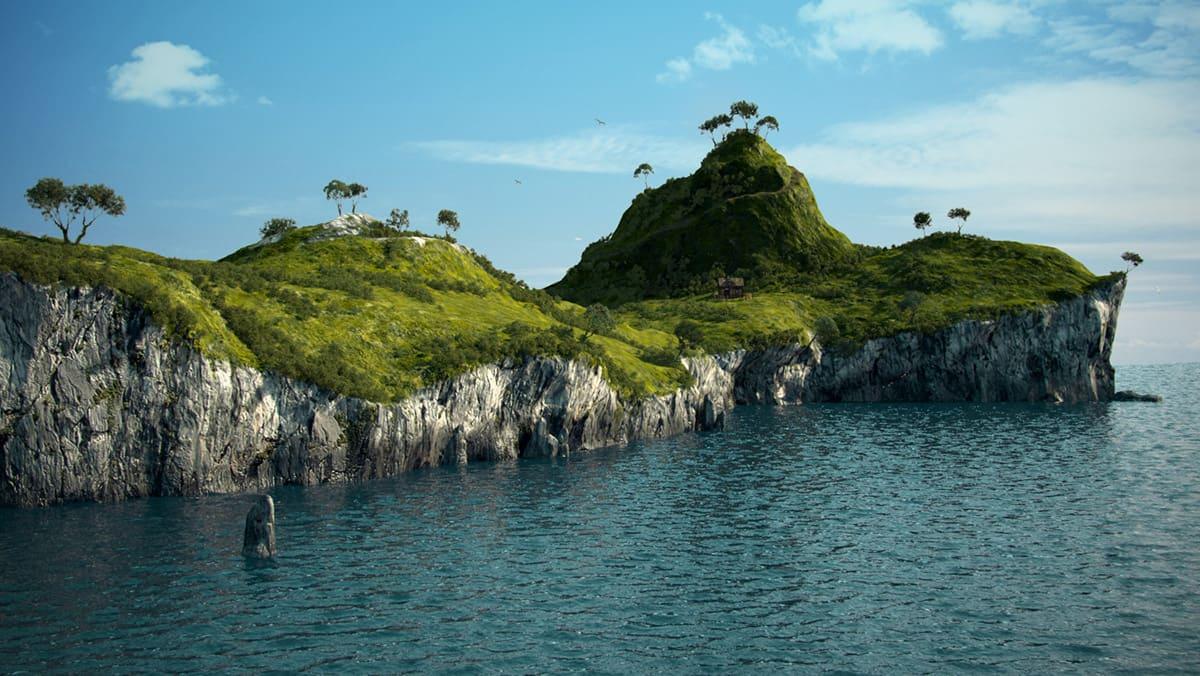 Модели и сцены, созданные для фильма «Густаво приключение». Остров 3D