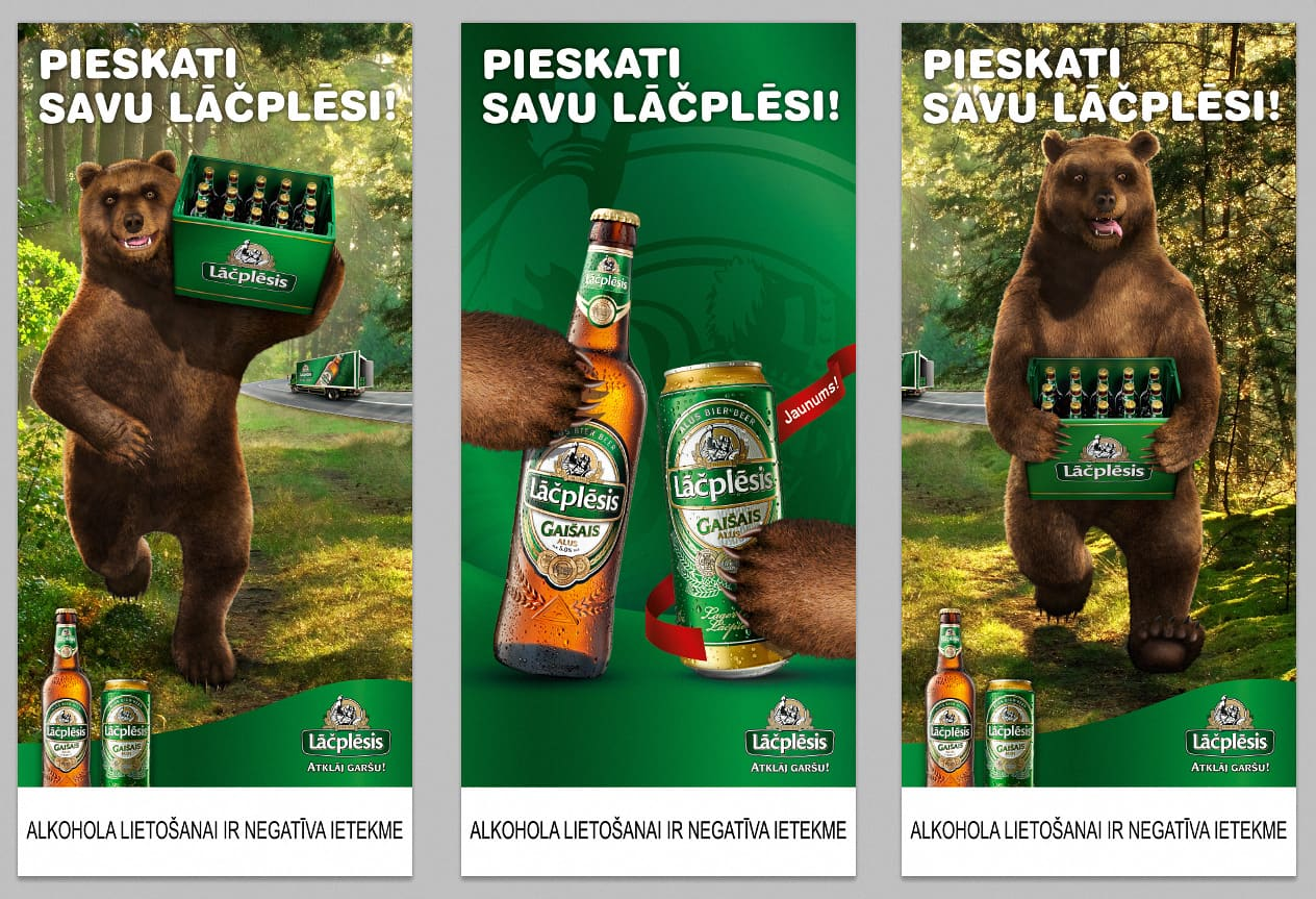 Lāčplēsis Advertising Campaign beer. Bear 3DПиво «Рекламная кампания Lāčplēsis». Медведь 3D