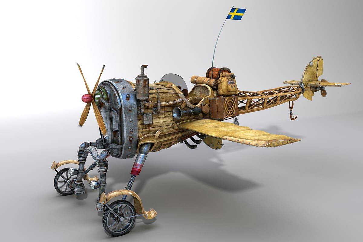 Модели и сцены, созданные для фильма «Густаво приключение». 3D-модель самолета